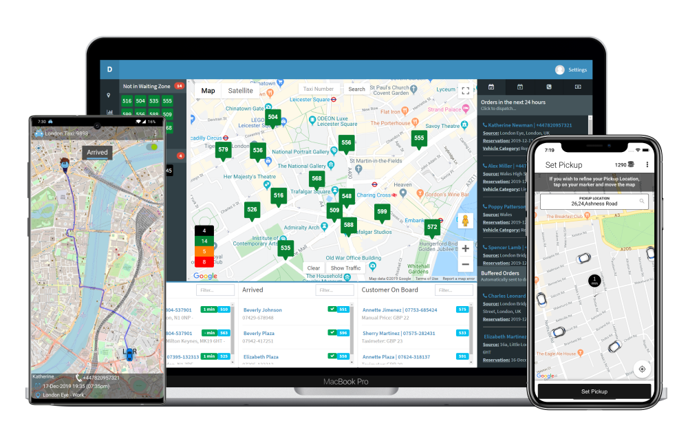 Cabbis web app, driver app, and customer app.